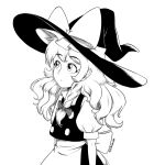 1girl apron bangs bow braid buttons closed_mouth eyebrows_visible_through_hair frilled_hat frills from_side giantcavemushroom hair_bow hat hat_bow high_contrast kirisame_marisa long_hair monochrome puffy_short_sleeves puffy_sleeves short_sleeves side_braid simple_background single_braid solo touhou twitter_username upper_body vest waist_apron witch_hat