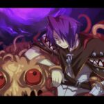1boy bangs brown_cape caduceus cape closed_mouth colored_sclera commentary_request creator_(ragnarok_online) emon-yu eyebrows_visible_through_hair eyes_visible_through_hair gloves hair_between_eyes hair_over_one_eye letterboxed living_clothes looking_at_viewer monster purple_hair ragnarok_online red_sclera shirt short_hair single_glove slime_(creature) smile teeth tentacles upper_body vanilmirth_(ragnarok_online) white_gloves white_shirt yellow_eyes