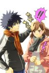 1girl blush brown_eyes brown_hair couple kamijou_touma misaka_mikoto scarf short_hair surprise surprised to_aru_kagaku_no_railgun to_aru_majutsu_no_index yu@genkoochu(5tsukino)