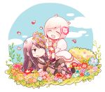 1boy 1girl estellise_sidos_heurassein flower head_wreath long_hair pink_hair shirou_(vista) short_hair smile tales_of_(series) tales_of_vesperia yuri_lowell