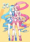 chypre_(heartcatch_precure!) coffret_(heartcatch_precure!) cure_blossom cure_marine flower_tact futari_wa_pretty_cure hanasaki_tsubomi heartcatch_precure! heartcatch_pretty_cure! kuroboshi_kouhaku kurumi_erika legs magical_girl multiple_girls precure thigh-highs thighhighs yellow_background