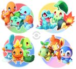 >_< blush bulbasaur charmander chikorita chimchar closed_eyes crossed_arms cyndaquil everyone fangs kuo mudkip no_humans open_mouth piplup pokemon pokemon_(creature) pokemon_(game) pokemon_dppt pokemon_gsc pokemon_rgby pokemon_rse squirtle torchic totodile treecko turtwig