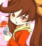 1girl :d :q :} ashley blush brown_hair chenge-getter gift holding holding_gift long_hair open_mouth red_(warioware) red_eyes smile tongue twintails warioware
