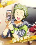 character_name closed_eyes dress green_hair idolmaster idolmaster_side-m mitarai_shouta short_hair smile