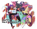 >_< 1boy :d aegislash alternate_costume bangs barefoot black_jacket black_pants box candy candy_cane commentary_request dark-skinned_male dark_skin dragapult dreepy facial_hair food gen_1_pokemon gen_6_pokemon gen_8_pokemon halloween happy_halloween hat hatted_pokemon highres holding holding_box jacket leon_(pokemon) long_hair machoke male_focus morio_(poke_orio) open_mouth pants pokemon pokemon_(game) pokemon_swsh purple_hair sleeves_past_elbows smile soles toes tongue tongue_out upper_teeth witch_hat yellow_eyes