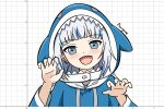 1girl auyum bangs blue_eyes blue_hair blunt_bangs blush cropped_torso eyebrows_visible_through_hair gawr_gura graphing_calculator grey_hair grid_background hands_up highres hololive hololive_english holomyth hood hood_up looking_at_viewer making-of_available multicolored_hair open_mouth sharp_teeth signature smile solo streaked_hair teeth upper_body virtual_youtuber