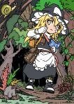 1girl apron backpack bag bandaid bandaid_on_face black_dress black_footwear blonde_hair book boots bow braid broom buttons dress forest gloves hat hat_bow highres hiking holding holding_book inuno_rakugaki kirisame_marisa long_hair long_sleeves nature outdoors pouch shoes snail solo touhou waist_apron white_bow white_gloves witch witch_hat yellow_eyes