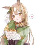 1girl :p absurdres animal_ears bangs blush braid brown_eyes brown_hair center_frills closed_mouth commentary_request eyebrows_visible_through_hair frills green_jacket hand_up heart highres horse_ears jacket long_hair long_sleeves looking_at_viewer moko_(mokochisa) satono_diamond shirt simple_background sleeves_past_fingers sleeves_past_wrists smile solo spoken_heart tongue tongue_out twitter_username umamusume upper_body very_long_hair white_background white_shirt