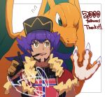 1boy against_glass bangs baseball_cap bright_pupils cape champion_uniform charizard claws commentary_request dark-skinned_male dark_skin dynamax_band facial_hair fangs fangs_out flying_sweatdrops fur-trimmed_cape fur_trim gen_1_pokemon gloves green_eyes hand_up hat highres holding holding_pen leon_(pokemon) long_hair male_focus milestone_celebration morio_(poke_orio) mouth_hold open_mouth partially_fingerless_gloves pen pokemon pokemon_(creature) pokemon_(game) pokemon_swsh purple_hair red_cape shield_print shirt short_sleeves sword_print thank_you tongue upper_teeth white_pupils writing yellow_eyes