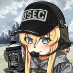 1girl alcohol bangs baseball_cap black_headwear blonde_hair blue_eyes blush camouflage cityscape closed_mouth clouds cloudy_sky earmuffs escape_from_tarkov gloves green_gloves grey_hoodie grey_sky hat holding hood hoodie jack_daniel's jizi looking_at_viewer military military_uniform mole mole_under_eye original outdoors sky smile solo uniform vest whiskey