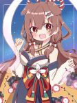 1girl :d animal_ears bangs blush bone_hair_ornament brown_eyes brown_hair chibi commentary detached_sleeves dog_ears dog_girl extra_ears fang hagoromo hair_between_eyes hair_down hair_ornament hairclip halterneck highres hololive inugami_korone long_hair looking_at_viewer off-shoulder_kimono open_mouth rabiiandrain shawl shirt skin_fang smile solo virtual_youtuber w_arms white_shirt