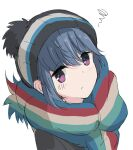 1girl bangs black_jacket blue_hair closed_mouth commentary_request core_(mayomayo) eyebrows_visible_through_hair eyes_visible_through_hair from_above highres jacket light_blush long_hair looking_at_viewer multicolored multicolored_clothes multicolored_scarf pom_pom_(clothes) pout scarf shadow shima_rin simple_background solo upper_body violet_eyes white_background woollen_cap yurucamp