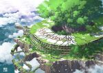 1other 2020 abandoned animal bird bug building cityscape clouds commentary_request day ground_vehicle highres lamppost no_humans original outdoors overgrown oversized_animal railroad_tracks ruins scenery spider stairs stone_stairs tokyogenso train tree