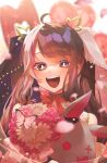 1girl :d balloon bangs blurry blurry_background bouquet bright_pupils brown_hair bug butterfly flower hair_behind_ear highres holding holding_stuffed_toy insect karupisusawa looking_at_viewer multicolored_hair nijisanji open_mouth pink_butterfly pink_eyes pink_flower pink_hair sidelocks smile solo streaked_hair stuffed_animal stuffed_bunny stuffed_toy twintails virtual_youtuber white_hair white_pupils yorumi_rena
