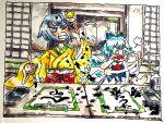 2girls angry barefoot blue_dress blue_hair cirno dress hieda_no_akyuu ice ice_wings indoors ink japanese_clothes kimono messy_room morinokirin multiple_girls one_eye_closed paint_splatter paintbrush purple_hair red_ribbon ribbon scroll splashing touhou translation_request wings yellow_kimono