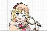 1girl auyum bangs blonde_hair blue_eyes cropped_torso deerstalker eyebrows_visible_through_hair graphing_calculator grid_background hand_up hat highres holding holding_magnifying_glass hololive hololive_english holomyth long_hair looking_at_viewer magnifying_glass making-of_available monocle necktie red_neckwear signature solo virtual_youtuber watson_amelia