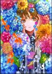 1girl absurdres bangs black_kimono blue_flower brown_eyes brown_hair commentary_request eyebrows_behind_hair flower hair_between_eyes hands_on_own_face hands_up highres hydrangea japanese_clothes kimono obi original parted_lips petals pink_flower purple_flower qooo003 sash solo summer upper_body yellow_flower