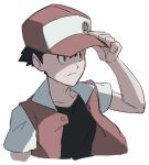 1boy badge baseball_cap black_hair black_shirt closed_mouth collarbone commentary_request frown hand_on_headwear hand_up hat jacket male_focus morio_(poke_orio) open_clothes open_jacket pokemon pokemon_(game) pokemon_rgby red_(pokemon) red_headwear shirt short_hair short_sleeves simple_background sketch solo upper_body white_background