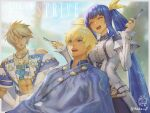 1boy 1girl abs bangs bare_shoulders blonde_hair blue_eyes blue_hair blue_robe blurry blurry_background breasts closed_mouth collared_shirt comb commentary_request copyright_name cross cross_necklace cutting_hair detached_sleeves dizzy_(guilty_gear) dress eyebrows_visible_through_hair eyepatch gloves guilty_gear guilty_gear_strive hair_between_eyes hair_ribbon happy highres holding holding_comb holding_scissors ikeda_(cpt) jewelry ky_kiske large_breasts long_hair looking_at_another muscular muscular_male necklace one_eye_covered open_mouth ribbon scissors shirt short_hair sidelocks sin_kiske sitting standing twintails very_long_hair white_dress white_gloves yellow_ribbon