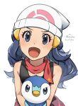 1girl :d bare_arms beanie black_hair blush commentary_request dawn_(pokemon) echizen_(n_fns17) eyelashes gen_4_pokemon grey_eyes hair_ornament hairclip hat highres holding holding_pokemon long_hair open_mouth piplup pokemon pokemon_(anime) pokemon_(creature) pokemon_swsh_(anime) scarf simple_background sleeveless smile sparkle starter_pokemon tongue twitter_username white_background white_headwear