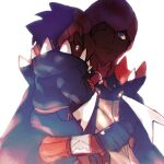 2boys absurdres black_hoodie carrying closed_mouth collared_shirt commentary_request dark-skinned_male dark_skin dynamax_band earrings gloves grey_eyes gym_leader highres hood hoodie jewelry kiss kissing_cheek male_focus mer_(watercups) multiple_boys one_eye_closed orange_headwear partially_fingerless_gloves pokemon pokemon_(game) pokemon_swsh raihan_(pokemon) shirt smile white_background younger