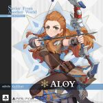 1girl aloy_(horizon) arrow_(projectile) artist_request boots bow_(weapon) braid breasts brown_footwear crossover english_commentary genshin_impact green_eyes highres holding holding_bow_(weapon) holding_weapon horizon_zero_dawn jewelry long_hair necklace official_art orange_hair pants pouch promotional_art side_braids solo weapon