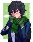 1boy 1girl absurdres atsuta_miyazu bangs barley_juice black_hair blush glasses gloves highres looking_at_viewer scarf shin_megami_tensei shin_megami_tensei_v short_hair simple_background solo