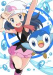 1girl absurdres arm_up armpits beanie black_legwear black_shirt blue_eyes blue_hair boots bracelet commentary_request dawn_(pokemon) floating_hair gen_4_pokemon hands_up hat highres jewelry kneehighs long_hair narrow_waist official_art open_mouth pink_footwear pink_skirt piplup pointing pointing_up poke_ball_print poke_ball_symbol pokemon pokemon_(anime) pokemon_(creature) red_scarf scarf shirt skirt sleeveless standing standing_on_one_leg teeth water_drop yasuda_shuuhei