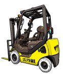 chair commentary_request forklift from_side komatsu_(company) makino_yasuhiro no_humans simple_background steering_wheel translation_request vehicle_focus wheel white_background