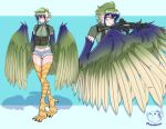 1girl aiming animal_feet bangs bird_legs blue_background blue_eyes blue_feathers blue_hair blue_wings commentary commission denim denim_shorts english_commentary feathered_wings feathers fugubarakun green_feathers green_hair green_shirt green_wings gun hair_between_eyes harpy highres holding holding_gun holding_weapon micro_shorts midriff monster_girl multicolored multicolored_hair multicolored_wings original pointy_ears pp-19-01 puffer_fish shadow shirt short_hair shorts sidelocks standing submachine_gun tactical_clothes talons trigger_discipline twitter_username two-tone_background weapon white_background winged_arms wings