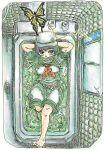 1girl barefoot bathing bathtub black_hair bug butterfly clothed_bath hat highres indoors insect morinokirin murasa_minamitsu navel sailor_collar sailor_hat short_hair shorts touhou water white_shorts window
