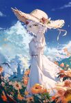 1girl absurdres bangs bare_shoulders blush braid breasts brown_headwear closed_mouth clouds cloudy_sky commentary_request day detached_sleeves dress eyebrows_visible_through_hair field flower flower_field from_side genshin_impact green_eyes hair_flower hair_ornament hand_up hat hat_flower highres looking_at_viewer noelle_(genshin_impact) orange_flower outdoors red_flower short_hair silver_hair sky solo standing straw_hat sun_hat sundress white_dress yajuu