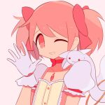 1girl beige_background buttons center_frills choker collarbone creature creature_on_shoulder dot_nose eyebrows_visible_through_hair flat_chest frilled_sleeves frills gloves hair_between_eyes hair_ribbon hand_up kaname_madoka kyubey looking_at_viewer mahou_shoujo_madoka_magica on_shoulder pink_eyes pink_hair pink_ribbon pink_theme puffy_short_sleeves puffy_sleeves red_choker ribbon shiny shiny_hair short_sleeves simple_background smile solo soul_gem twintails upper_body waving white_gloves yuri7s0