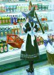 1girl apron black_dress bottle bow broom dress floating food groceries hat high_heels highres huangdanlan list long_dress long_hair original paper shopping shopping_basket supermarket witch witch_hat