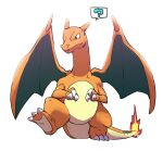 ? charizard claws closed_mouth commentary_request fangs fangs_out fire flame full_body gen_1_pokemon green_eyes highres leg_up morio_(poke_orio) no_humans pokemon pokemon_(creature) simple_background solo spoken_question_mark standing standing_on_one_leg white_background