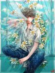 1boy blue_pants brown_hair collared_shirt curtains flower foot_out_of_frame highres leaf one_eye_covered original pants plant plant_uezi shirt short_hair short_sleeves sitting solo white_flower white_shirt window