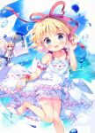 1girl absurdres amo_(shibu3) artist_name bangs bare_shoulders barefoot blonde_hair blue_eyes blue_sky blush bow brush clouds cloudy_sky dress eyebrows_visible_through_hair flower frills hand_up hands_up highres leg_up looking_at_viewer medicine_melancholy ocean open_mouth paint pink_flower red_bow running short_hair sky sleeveless smile solo su-san touhou water white_bow white_dress