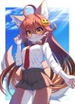 1girl :q ahoge animal_ears blue_sky blush body_fur breasts brown_fur brown_hair clouds commentary_request day furry grey_skirt hair_ornament highres long_hair long_sleeves looking_at_viewer medium_breasts necktie orange_eyes original paws pleated_skirt red_neckwear school_uniform shirt skirt sky solo sunlight tail tongue tongue_out tsuji two-tone_fur white_fur white_shirt wolf_ears wolf_girl wolf_tail