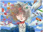 1girl blue_flower blue_jacket blue_sky closed_eyes clouds cloudy_sky collared_shirt floating floating_object flower grey_hair jacket original parted_lips pen pencil pink_flower plant_uezi purple_flower red_flower red_ribbon ribbon ruler scissors shirt short_hair sky smile solo stapler upper_body white_shirt yellow_flower