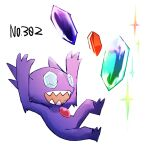 :d arms_up commentary_request full_body gem gen_3_pokemon morio_(poke_orio) no_humans number open_mouth pokedex_number pokemon pokemon_(creature) sableye sharp_teeth simple_background smile solo sparkle teeth white_background