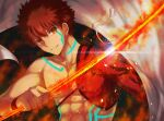 1boy abs embers emiya_shirou fate/grand_order fate_(series) glowing glowing_weapon grin highres holding holding_sword holding_weapon igote limited/zero_over looking_at_viewer male_focus orange_eyes redhead sengo_muramasa_(fate) single_bare_shoulder smile sol_(tvtjk7ubec) solo sword tassel tattoo toned toned_male upper_body weapon wristband