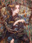 1girl black_kimono blue_eyes branch earrings hand_up highres japanese_clothes jewelry kimono long_sleeves obi original plant_uezi print_kimono sash solo wide_sleeves