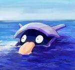 day gen_1_pokemon highres karamomo no_humans ocean outdoors partially_submerged pokemon pokemon_(creature) shellder sky solo tongue water