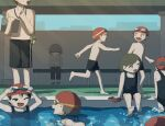 2girls 5boys :d absurdres avogado6 barefoot bench black_pants black_swimsuit closed_eyes commentary_request grey_eyes grey_hair highres holding male_swimwear multiple_boys multiple_girls one-piece_swimsuit one_eye_closed open_mouth original pants pool red_headwear shirtless shoes smile swim_trunks swimsuit wet whistle whistle_around_neck