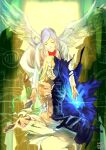 1girl 3boys angel_wings architect_(xenoblade) blonde_hair feathered_wings galea_(xenoblade) highres labcoat meditation momomoxeno multiple_boys rex_(xenoblade) shulk_(xenoblade) silver_hair wings xenoblade_chronicles xenoblade_chronicles_(series) xenoblade_chronicles_2