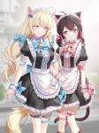 2girls animal_ears apron bell black_dress black_hair blonde_hair bow bowtie cat_ears cat_girl cat_tail choker commission dress frilled_dress frills hair_bow highres jingle_bell long_hair looking_at_another low_twintails maid maid_apron maid_headdress multiple_girls original pixiv_request puffy_sleeves red_eyes ronopu short_sleeves smile standing tail thigh_strap twintails waist_apron wavy_hair wing_collar wrist_cuffs yellow_eyes