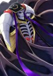 1boy ainz_ooal_gown armor hat highres horns izu_(tea_value_lord) lich male_focus overlord_(maruyama) red_eyes robe shoulder_armor skeleton solo white_background