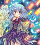 1girl :o angel_wings bangs beige_jacket blush bow bowtie breasts brooch commentary_request cowboy_shot dress eyebrows_visible_through_hair feathered_wings feathers hand_on_own_chin jacket jewelry kishin_sagume long_sleeves looking_at_viewer marker_(medium) medium_hair open_clothes open_jacket purple_dress red_bow red_eyes red_neckwear rui_(sugar3) sample silver_hair single_wing small_breasts solo touhou traditional_media wings