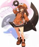anchor bike_shorts black_shorts brown_hair dolphin full_body guilty_gear guilty_gear_strive hand_in_pocket highres karukan_(monjya) long_hair long_sleeves looking_at_viewer may_(guilty_gear) open_mouth orange_footwear orange_headwear orca red_eyes shoes shorts skull_and_crossbones standing teeth whale