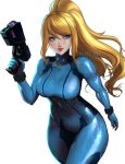 1girl arm_at_side artist_name blonde_hair blue_eyes bodysuit breasts closed_mouth commentary covered_navel english_commentary english_text gun hair_between_eyes hand_up holding holding_gun holding_weapon lips long_hair metroid pink_lips ponytail samus_aran simple_background smile solo standing tight turtleneck uliel weapon white_background zero_suit